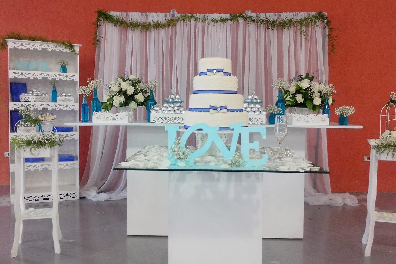 Casamento Feito em Casa DECORAÇÃO DE CASAMENTO AZUL E BRANCO COM