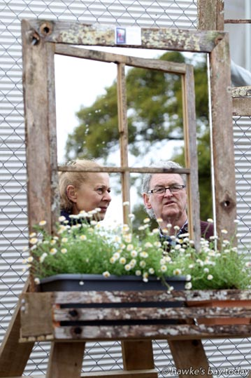 L-R: Alma French, Lenn French, Raukawa, pictured in a Mirror Illusion, created by Tarnzart, Tauranga, at the Hawke's Bay Home and Garden Show at McLean Park, Napier. photograph