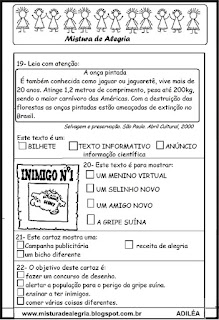 Avaliacao de portugues 3º ano-generos textuais