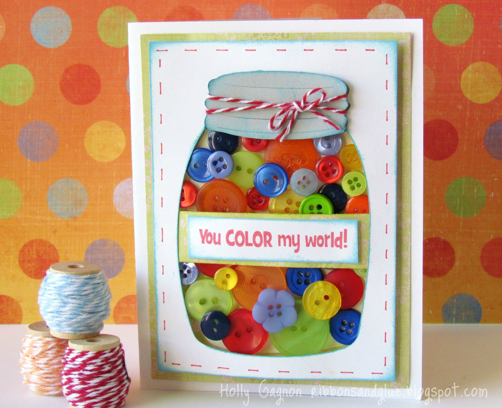 Jar Full of Buttons Card