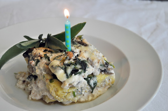 Meatless Monday inspiration: Mushroom and mustard green polenta lasagna