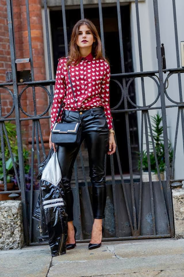 White Heart Patterned Red Blouse with Black Long Bag, Leather Modern Trousers, Stiletto and Black Patent Leather Jacket