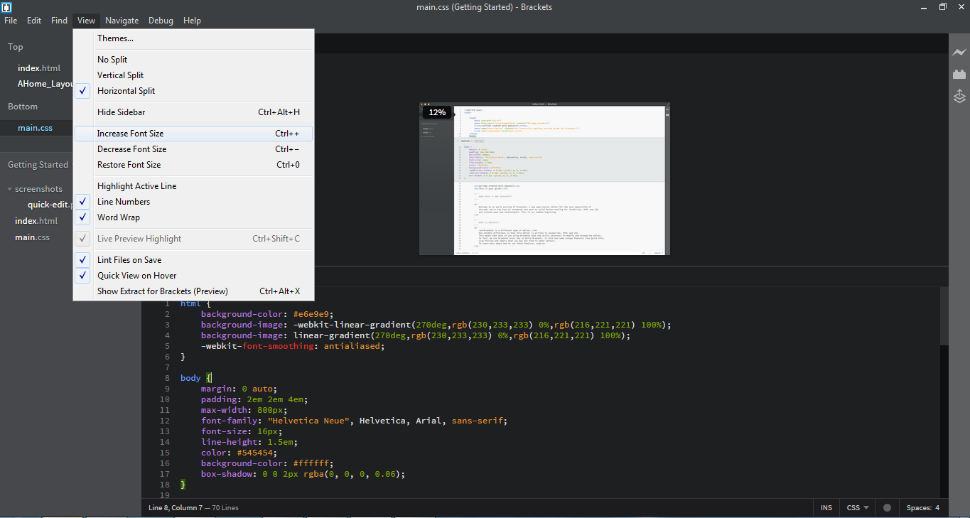 Free Download Brackets 1.2 Text Editor Ringan dan Open Source