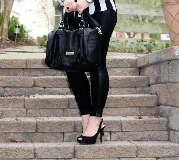 Black Bag from Nordstrom Rack, Tuxedo Leggings from Zara, Black Pumps from Michael Kors
