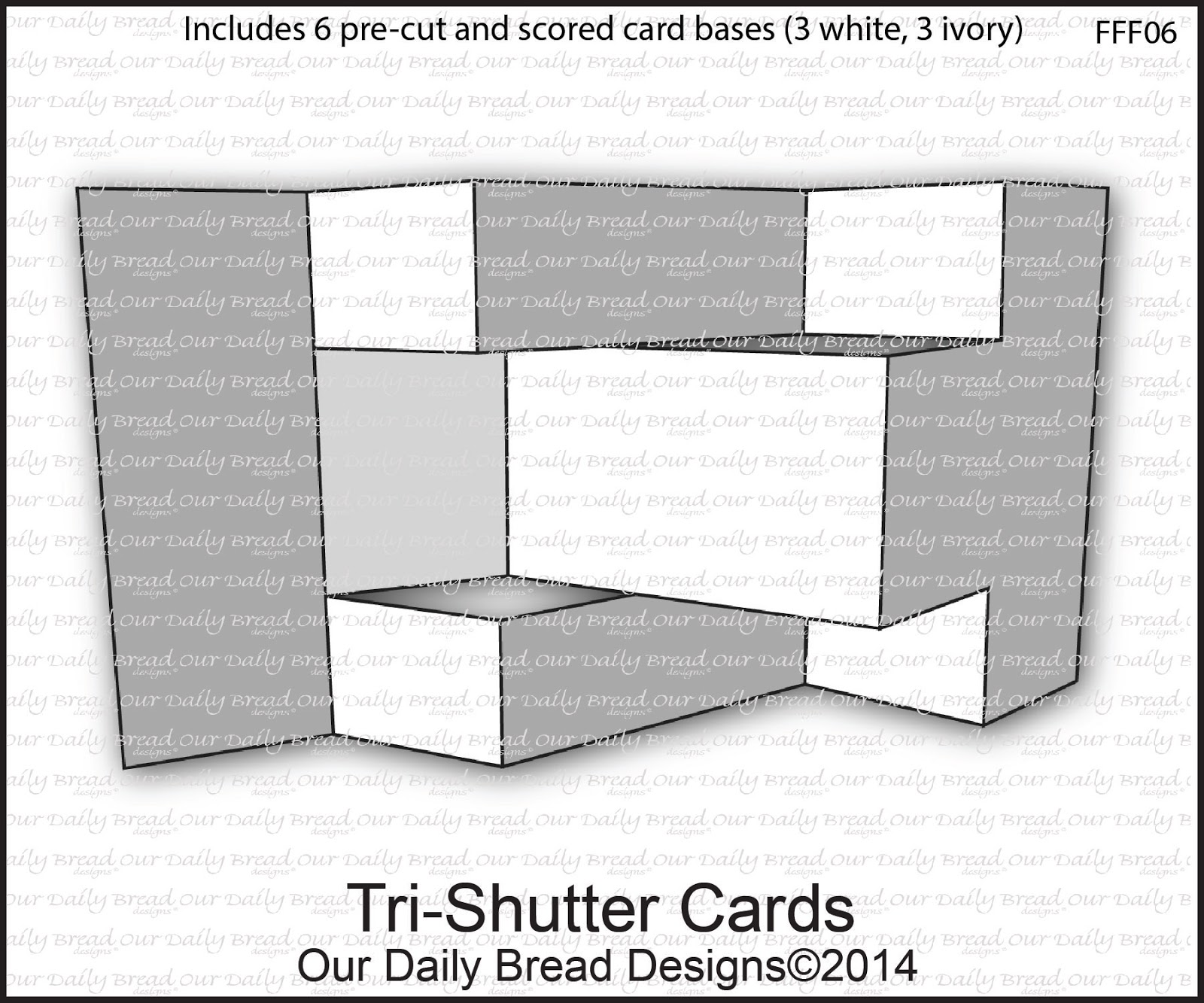 Our Daily Bread Designs Tri-Shutter Cards - Includes 6 pre-cut and scored card bases (3 White, 3 Ivory)