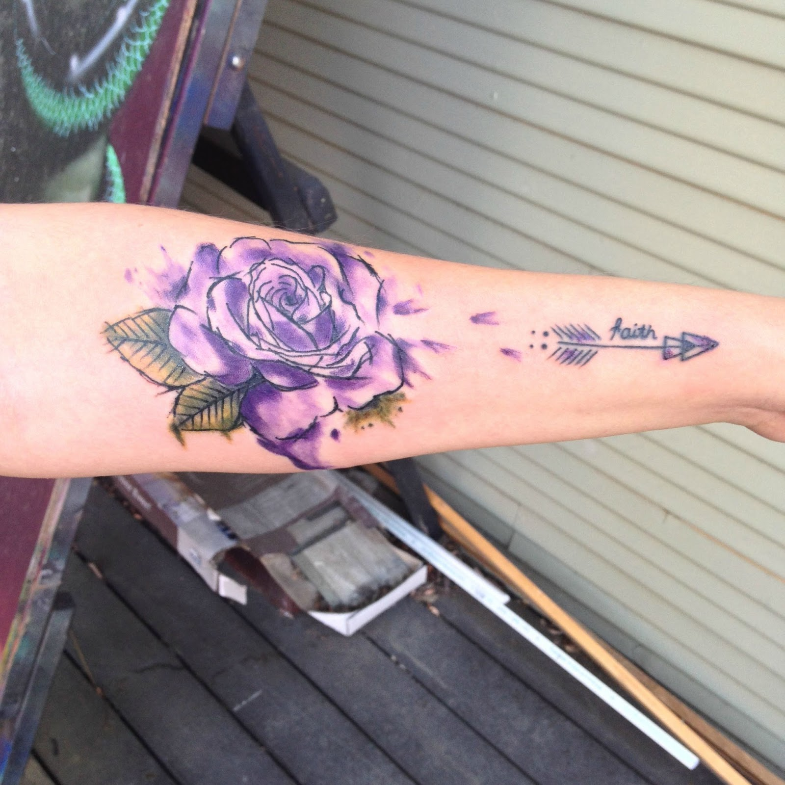 Watercolor tattoo artists in houston texas - Purple Watercolor Rose Tattoo By Keith Cromie Of Side Show Studios Sacramento Ca