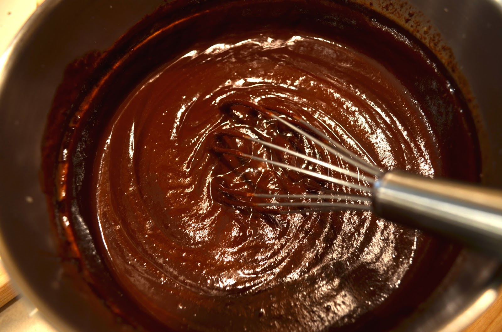 Melted chocolate truffle mixture