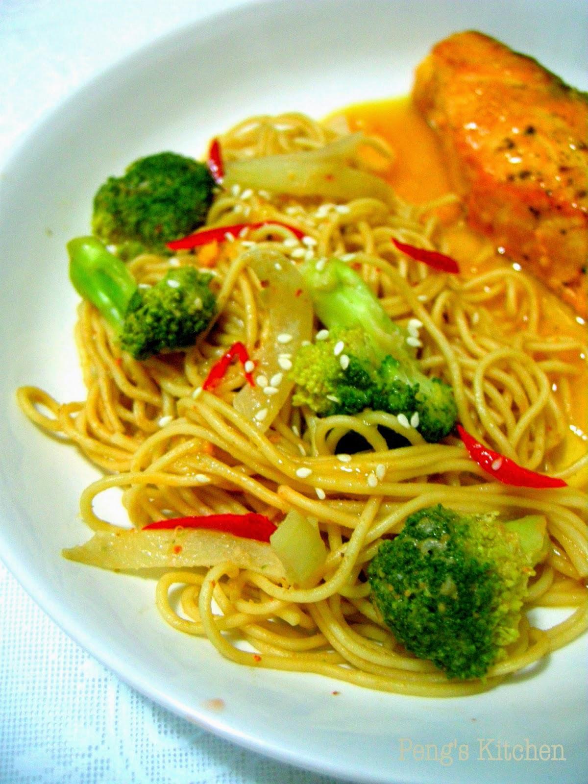 Peng's Kitchen: Orange & Soy Glazed Salmon with Light Sesame Noodles