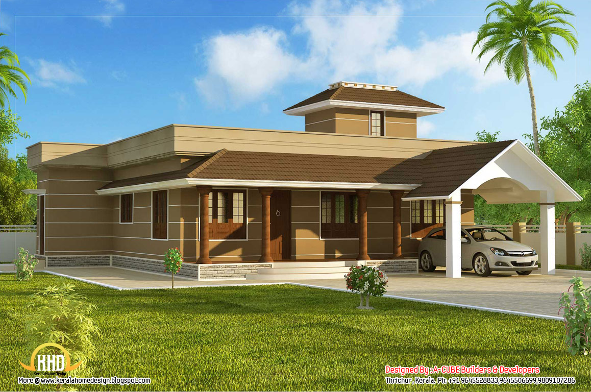 Kerala home design and floor plans 1400 3 bedroom for Single house design