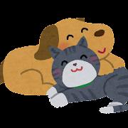 仲良しの犬と猫のイラスト