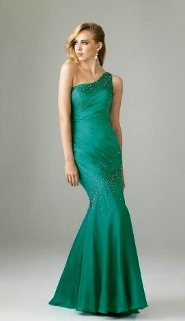 Vestido de Fiesta Corte Princesa con un Hombro, Drapeado Diagonal y Apliques Brillantes