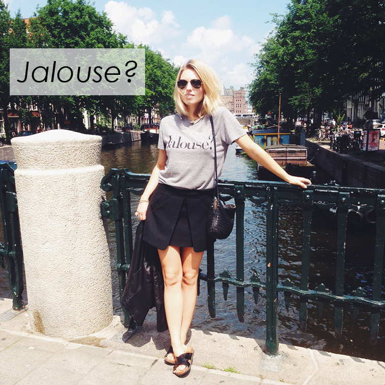 Jalouse Chrldr grey tee, Zara folded mini skirt, H&M slide sandals, Bottega Veneta intrecciato cross body bag, downtown Amsterdam Canal, Europ, Europtrip