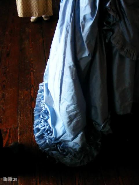 blue bustle dress ruffles, Laura Thorp, Castletown House Kildare Ireland