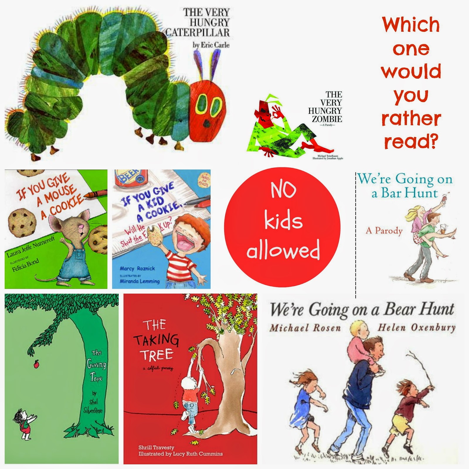 16 children's books that are really for adults | kid-ults | children's books for grown-ups | stories | book club | curious george | bear hunt hungry caterpillar | goodnight moon | classic kids books | parodies of kids books | humour | adult books | children's lib ray | h is for hummus | prada | runaway bunny | nursery books | story time | books | library | adult books parody of kids books | mamasVIb | sunday night book club