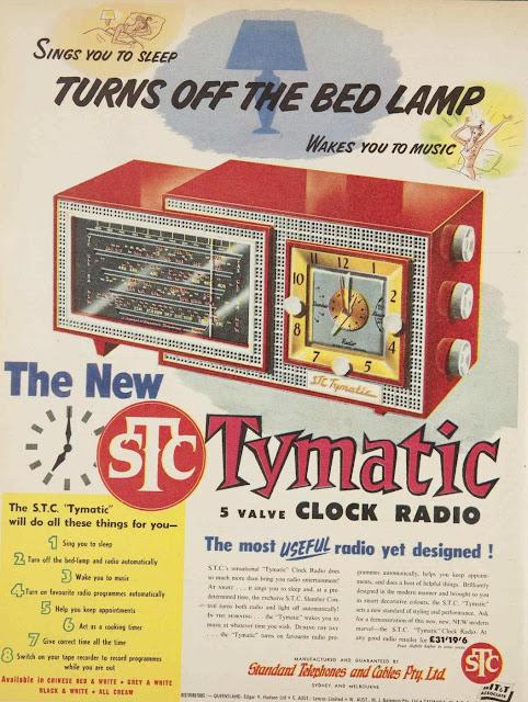 vintage clock radio ad