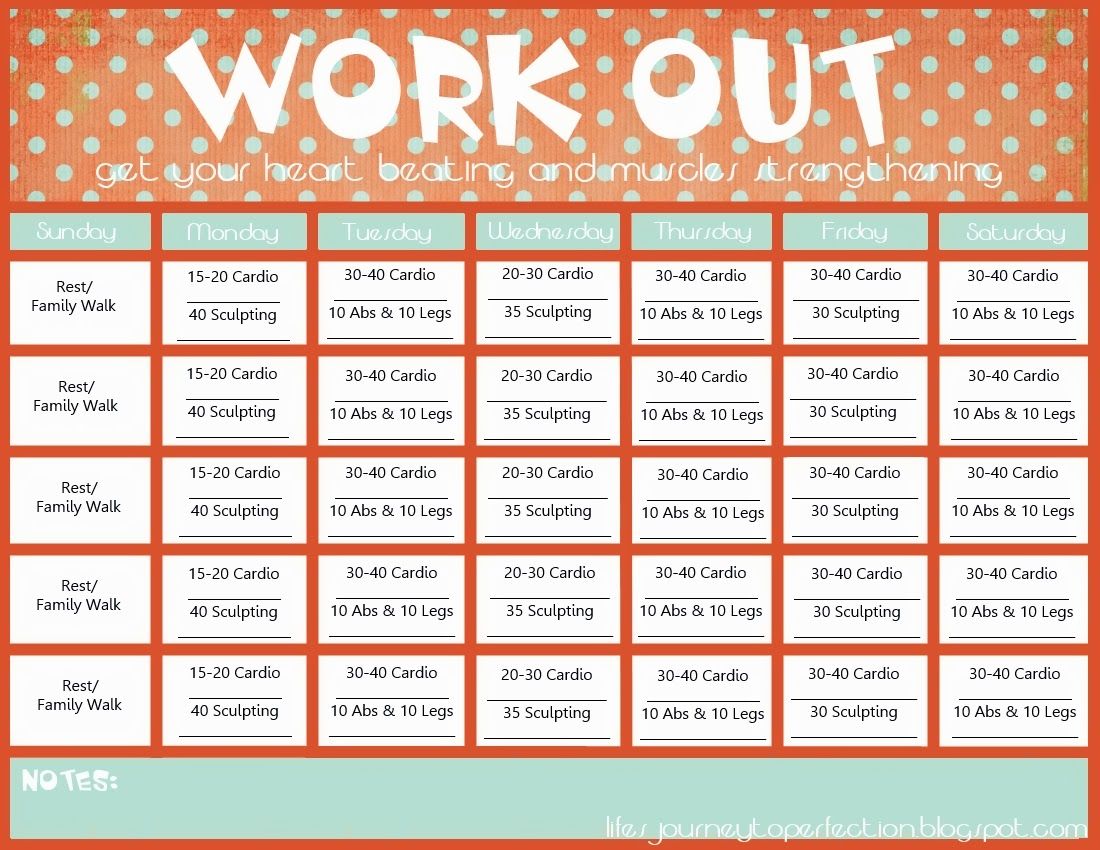 ... Journey To Perfection: Wisdom Wednesday- Workout Calendar Printable
