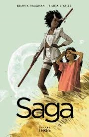 cover art for Saga Volume Three by Brian K. Vaughan and Fiona Staples