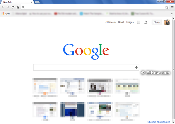 Google chrome's new tab interface.