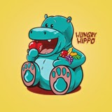 Vector stock of a cute hungry hippopotamus