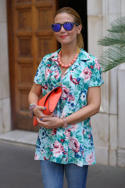 Kenzo floral print, Kenzo shirt, Orange clutch, Fashion and Cookies, fashion blog