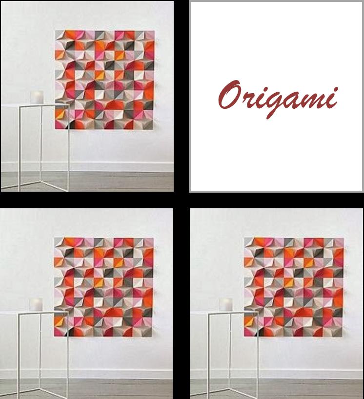 Origami Decoracion Pared ~   en diagonal y distribuidas sobre un tablero o sobre la misma pared