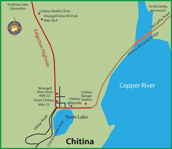 Maps of Alaska Roads By Bearfoot Guides: Map of Chitina Alaska