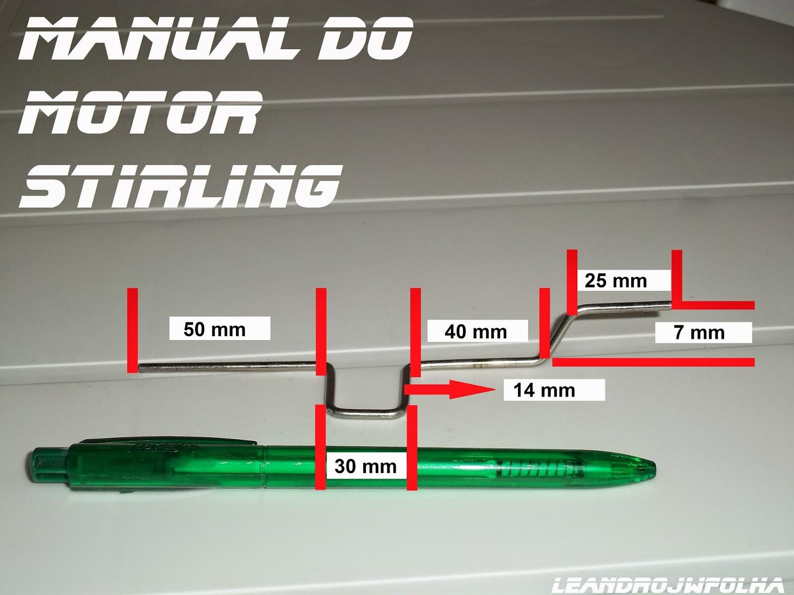 Manual do motor Stirling, medidas do virabrequim para aumentar a velocidade e potência