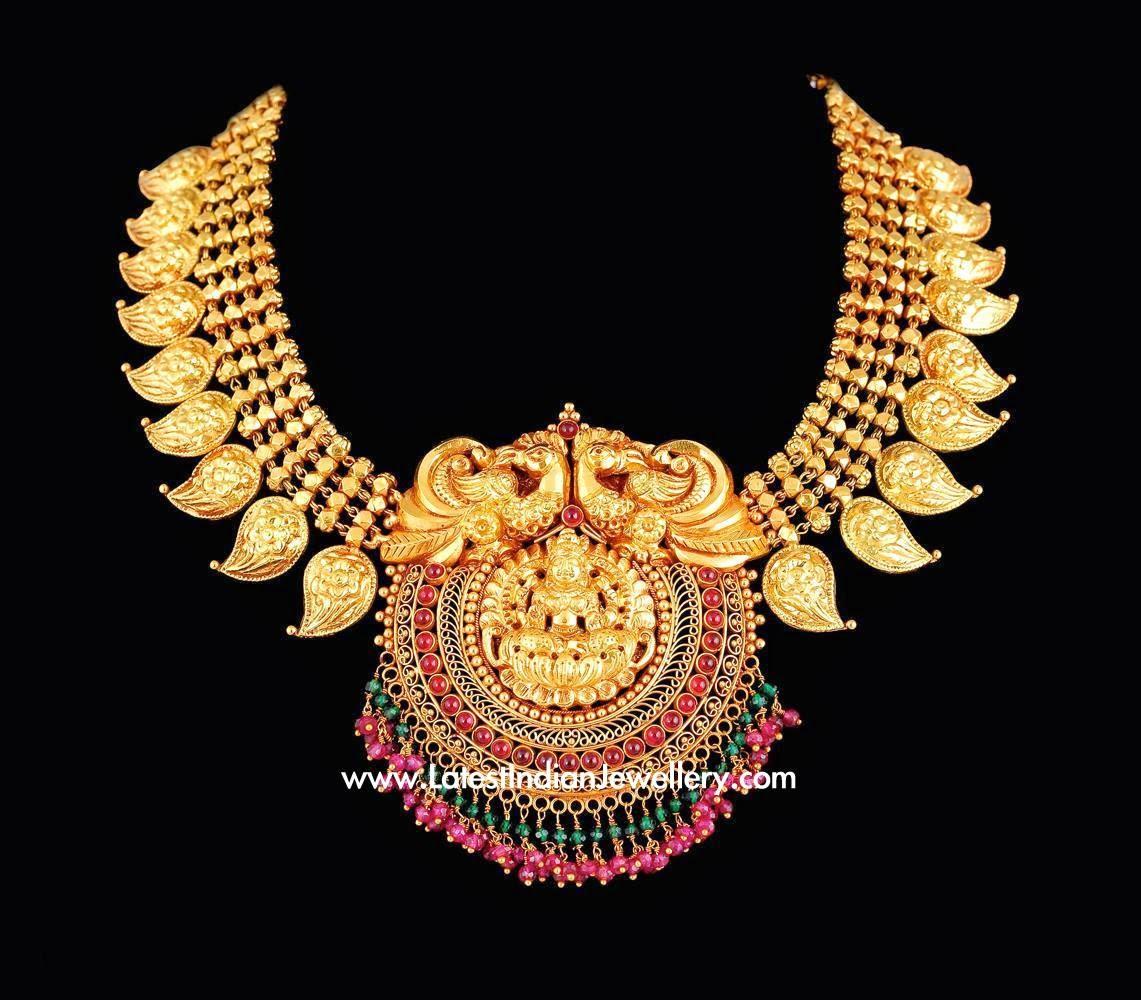 Mango Mala Necklace Lakshmi Pendant