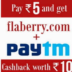 Get Rs.10 Balance for Rs.5 at Paytm from Flaberry : BuyToEarn