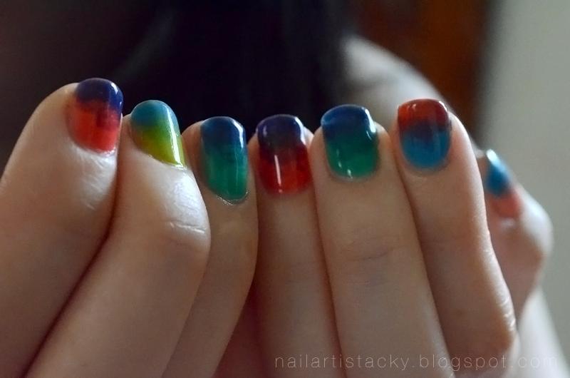 Tie Dye Nails - American Apparel Sheer Nail Polish - Nail Art