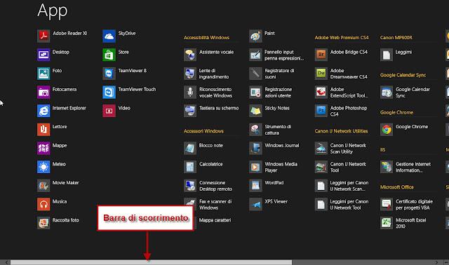 Elenco di tutte le App installate - Windows 8