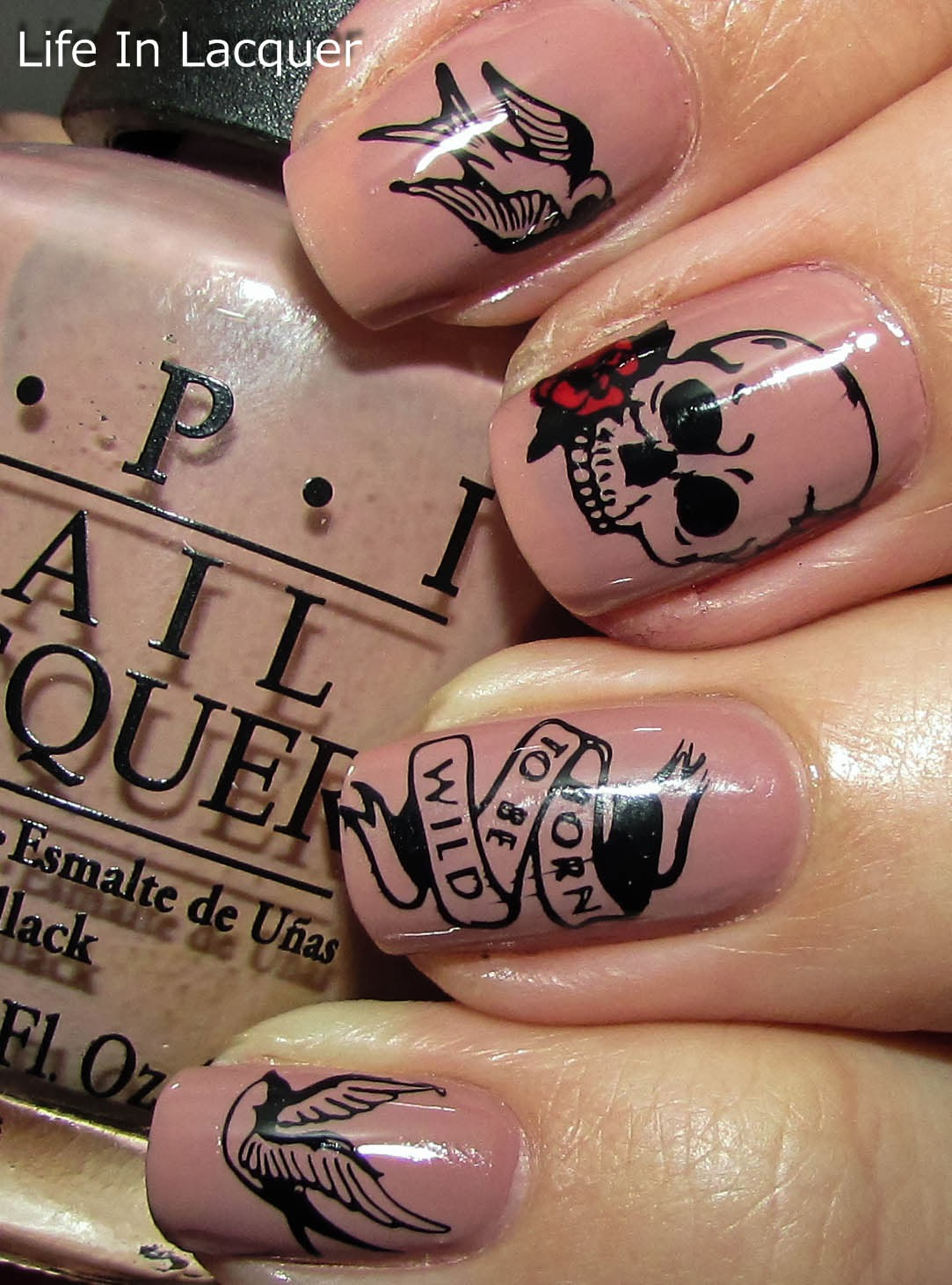 Life In Lacquer Born To Be Wild Tattoo Inspired Nail Stamping