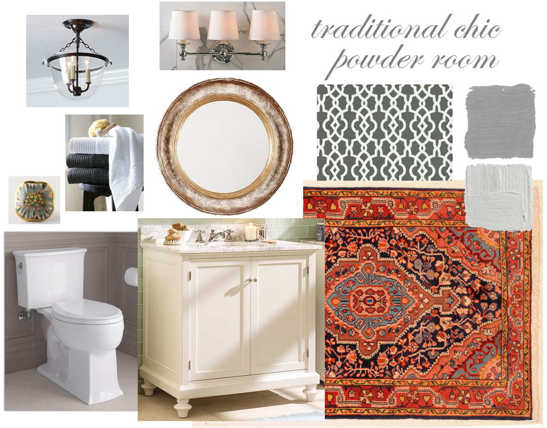 Some Very Clic Elements The Vanity Marble Top Grey Walls Are Coming Together With A Few Unexpected Ones Colorful Persian Rug Handpainted