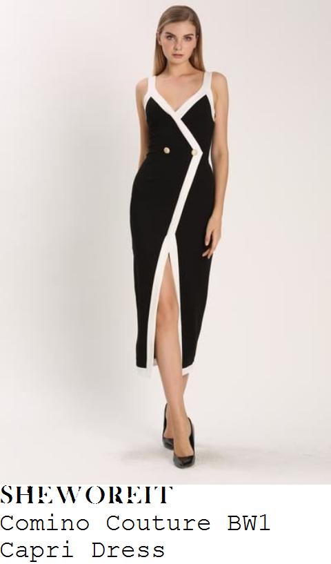 casey-batchelor-black-white-monochrome-wrap-front-button-detail-sleeveless-tuxedo-midi-dress