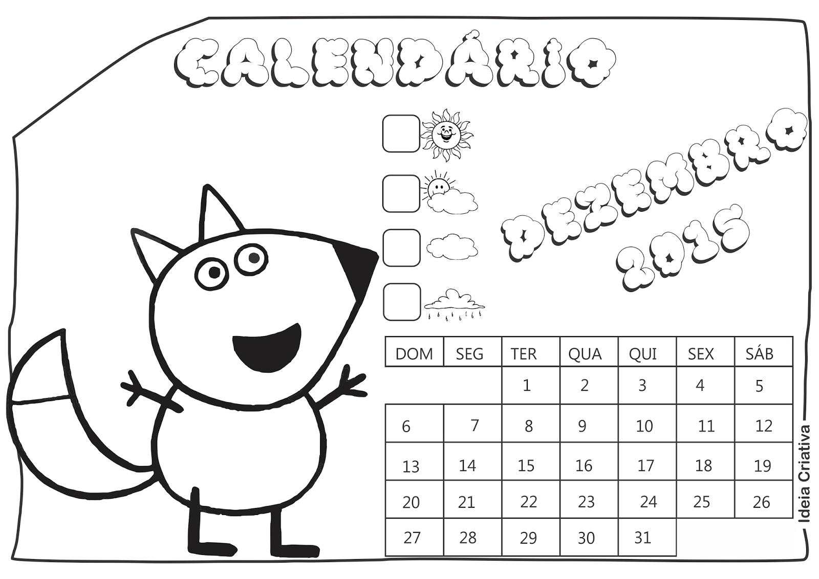 Calendário Dezembro 2015 Peppa Pig e Seus Amigos para Imprimir Grátis