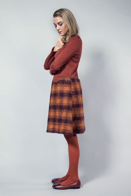 vestido manga larga marsala dos tonos