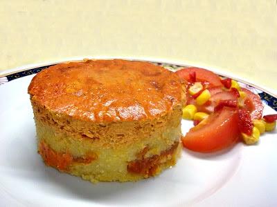 Pastel Vegano de Polenta y Cremoso de Tofu