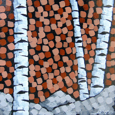 Birchscape: brown, Aaron Kloss Artwork, Acrylic birch tree painting