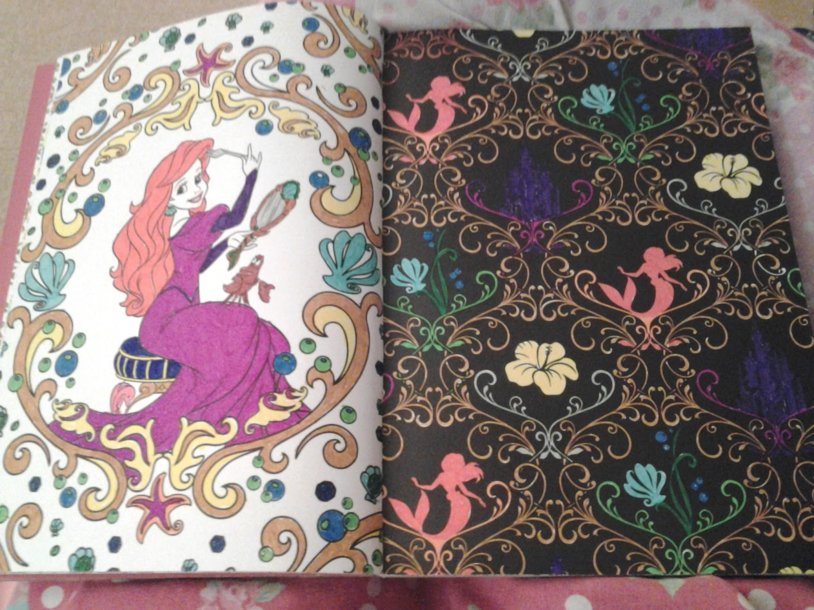 Disney princess art therapy colouring book - I Ve Been Having Fun Decorating Tiara S And Bringing Colour To Both Ariel And Mulan In My Disney Princess Art Therapy Book