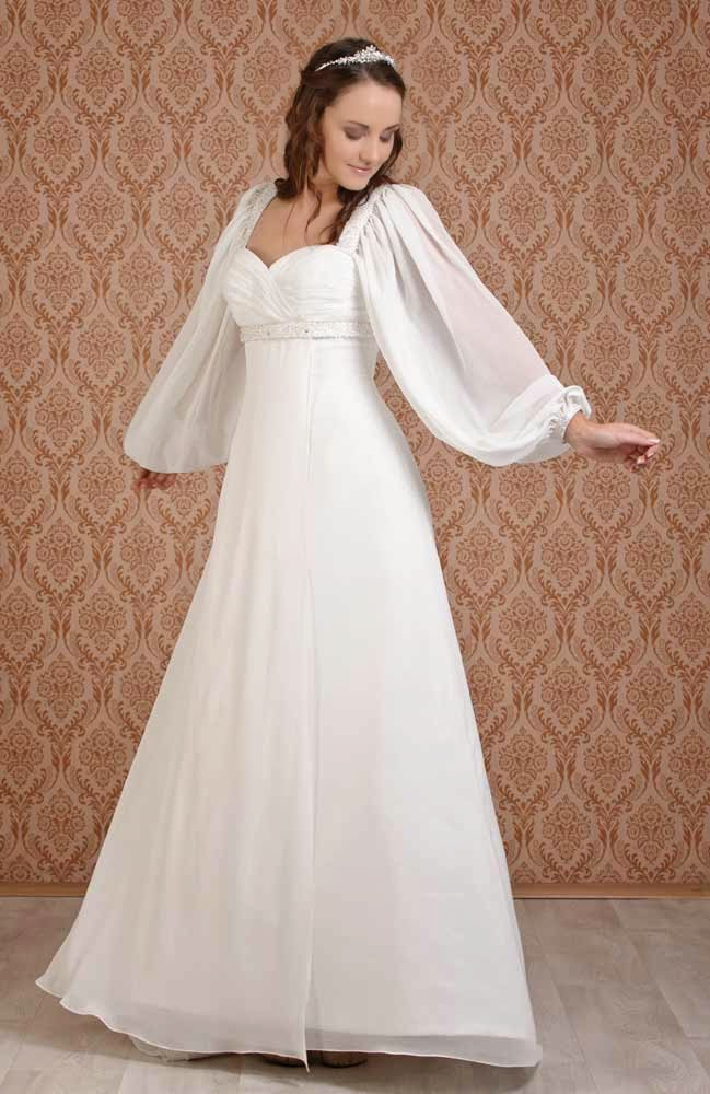 Celtic wedding dresses with long sleeves usa for Wedding dresses in usa