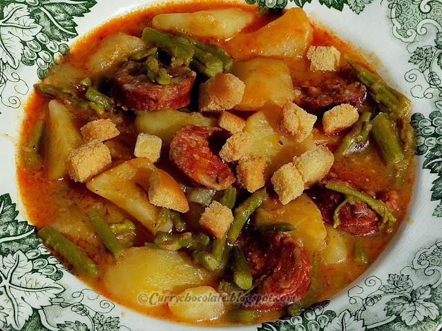 Chorizo and asparagus potato stew
