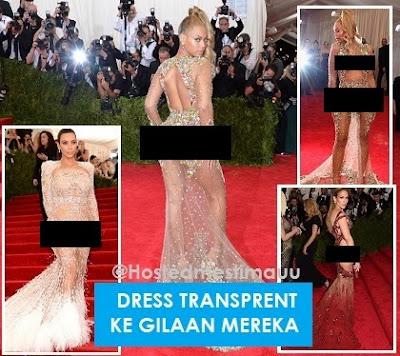 6 Gambar Dress b0gel pilihan Beyonce Kim K J Lo di Majlis gala