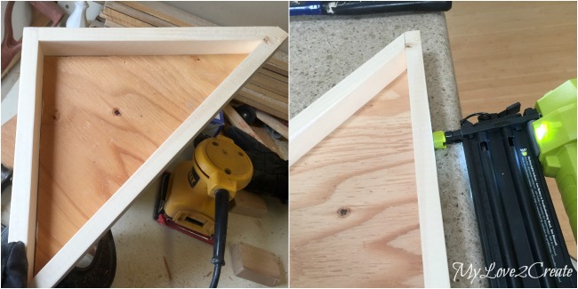 Attaching bottom of tray with nail gun