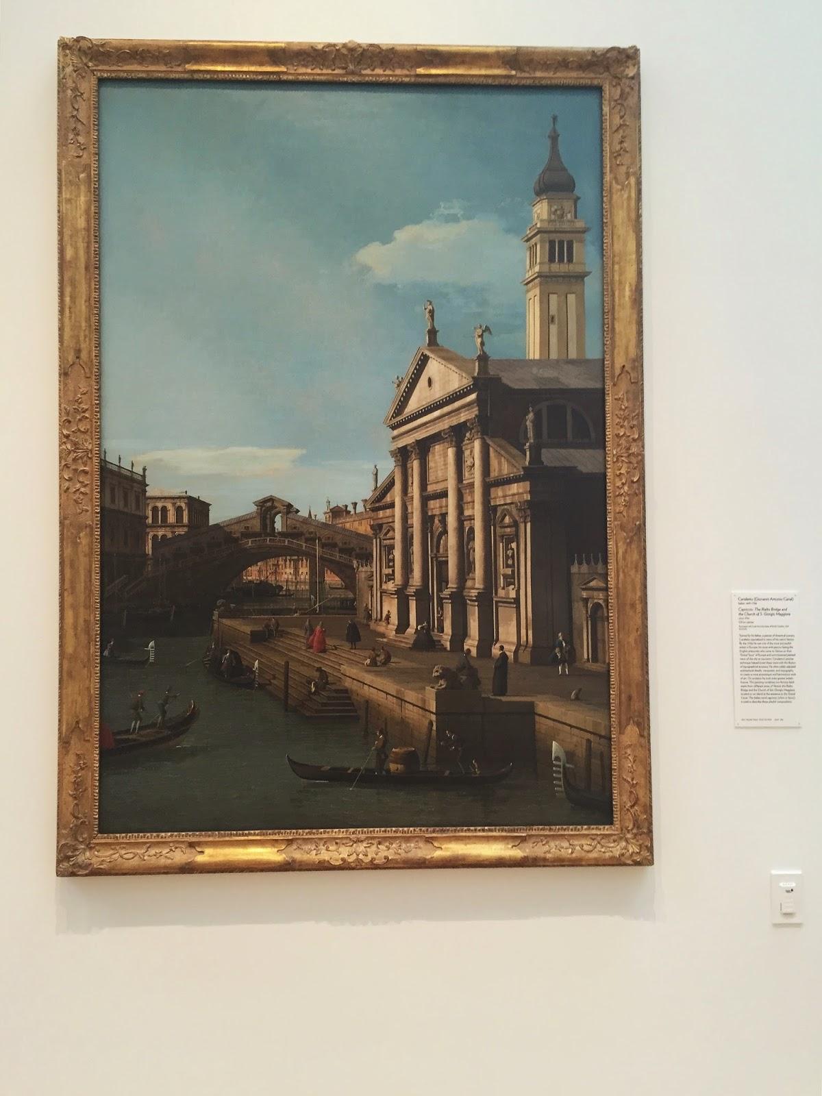 Canaletto, oil on canvas, Venice, Italy, Capriccio: The Rialto Bridge and the Church of S. Giergio Maggiore, North Carolina Museum of Art, NCMA, Raleigh, North Carolina, things to do in Raleigh, things to go in North Carolina, art, art museum