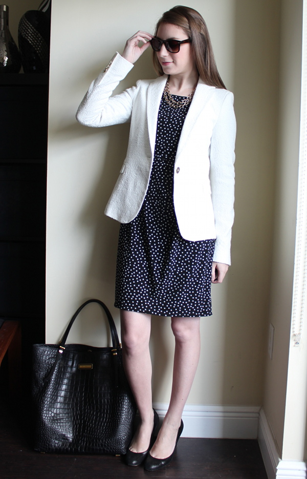miami fashion blog, lawyer style fashion blog, ann taylor polka dot dress, zara jacquard blazer, michael kors tote bag