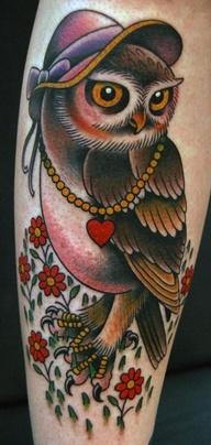 Tatuagem Coruja de Chapeu