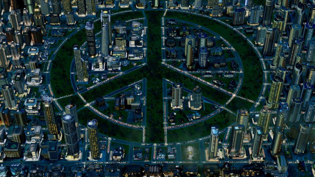 Попробуйте создать такой город в SomCity - парки будут в виде символа мира
