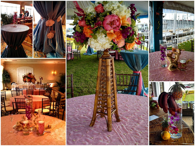 Isha Foss Events tropical centerpiece gloriosa lilies, coral charm peonies, oncidium orchids, hydrangea, roses on bamboo