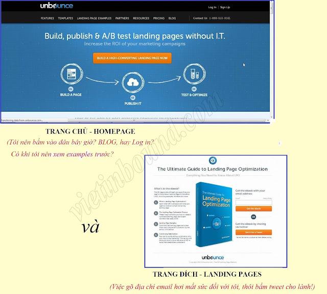 so sánh trang đích và trang chủ, landing page vs homepage