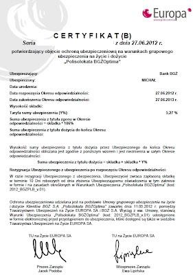 Certyfikat polisolokata BGŻ